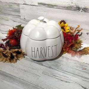 Rae Dunn HARVEST pumpkin canister with lid white